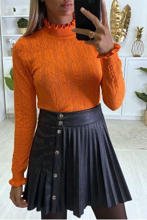 Oranje jacquardpatroon sweater met ruches aan de kraag en mouwen