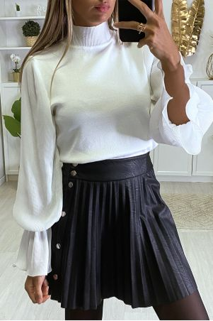 Mooie witte sweater met pofmouwen in geplooide sluier