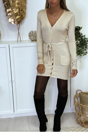 Long beige cardigan in very soft and stretchy knit
