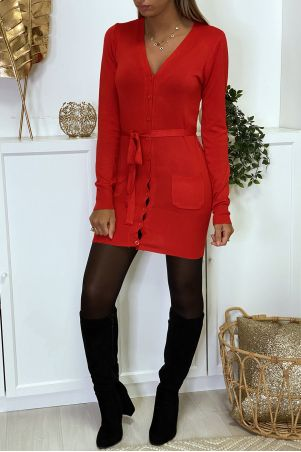 Long red cardigan in very soft and stretchy knit