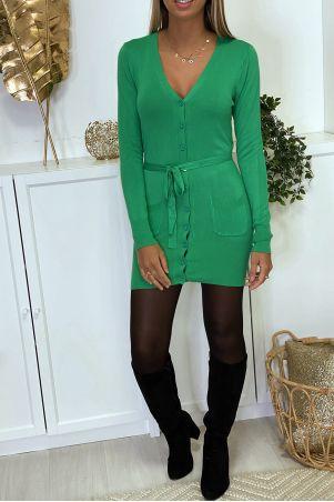 Lang groen vest in zeer zacht en rekbaar breisel