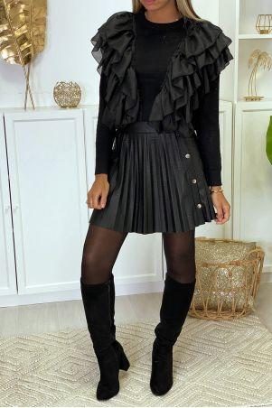 Prachtig zwart patroon sweater met sublieme volant
