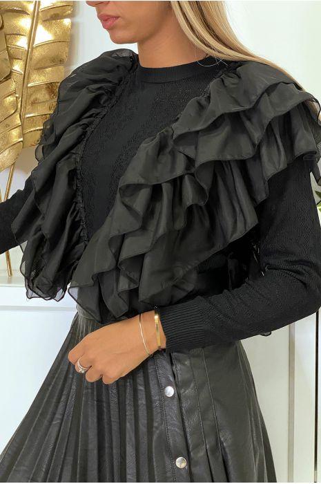 Magnifique pull noir à motif avec de sublime volant