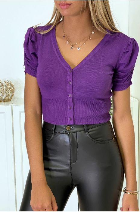 Mini gilet violet manche courte et froncée