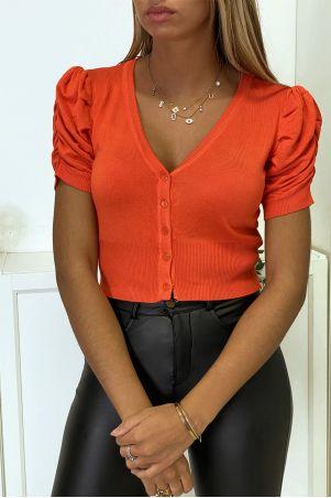 Rood mini vest met korte, gerimpelde mouw