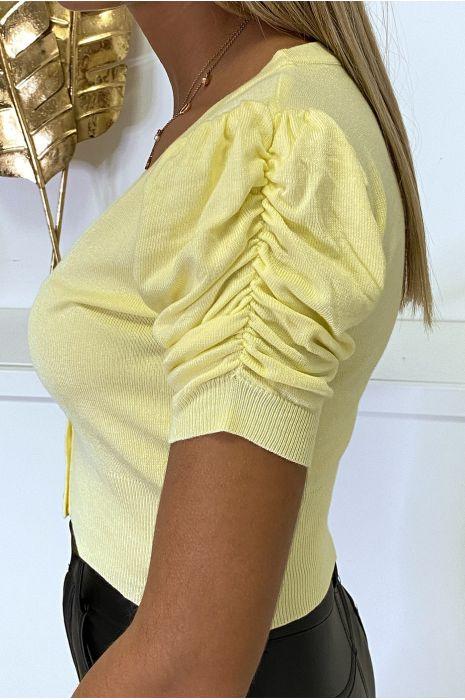 Mini gilet jaune manche courte et froncée