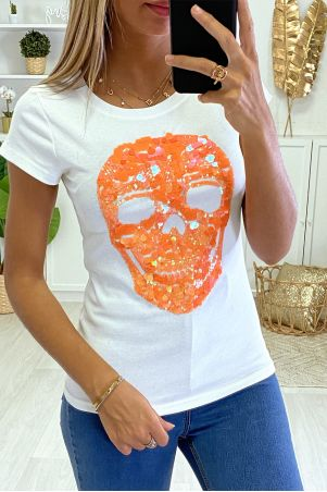 T-shirt tete de mort blanc et orange fluo en strass