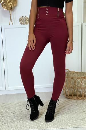 Bordeauxrode legging met rits en fleeceknoop in speciale thermische platte buik met hoge taille