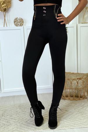 Zwarte legging met ritssluiting en fleeceknoop aan de binnenkant van speciale thermische thermische hoge taille met platte buik