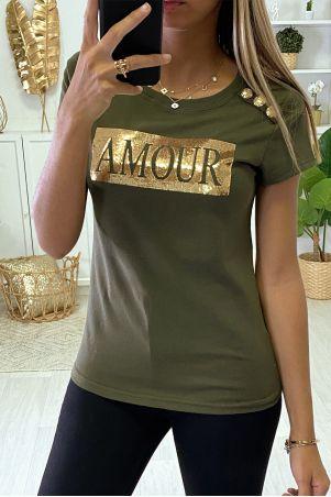 """T-shit kaki """"Amour"""" sequins et boutons dorées"""