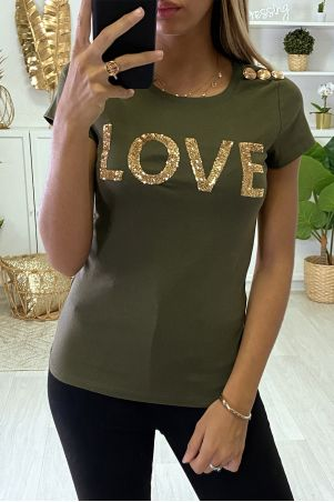 "T-shirt kaki ""love"" à sequins dorées"