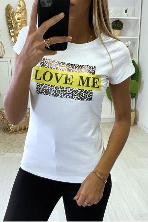 T-shirt blanc/jaune fluo leopard