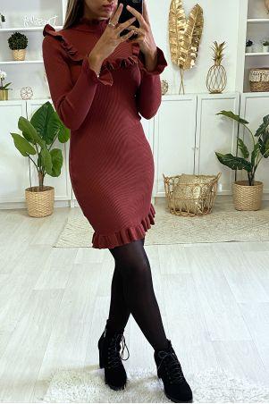 Bordeauxrode geribbelde bodycon-jurk met ruches