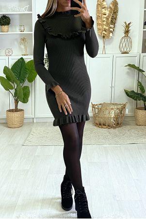Khaki Ribbed Frilly Bodycon Dress