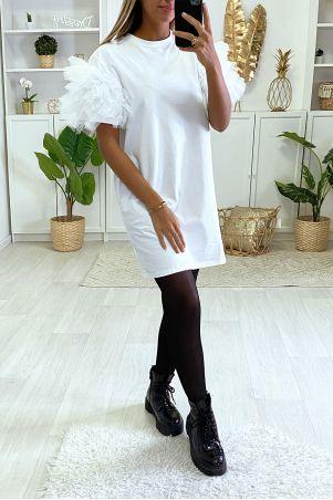 Robe teeshirt blanc unie avec froufou