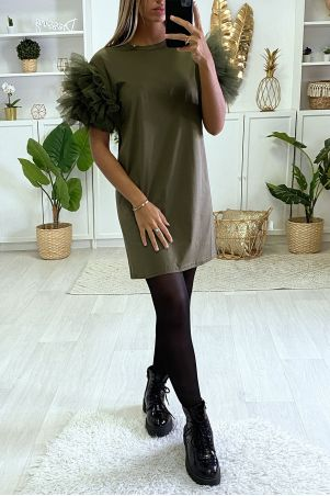 Plain khaki t-shirt dress with froufou
