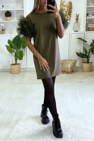 Plain khaki t-shirt dress with froufou