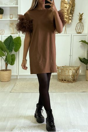 Plain brown t-shirt dress with froufou
