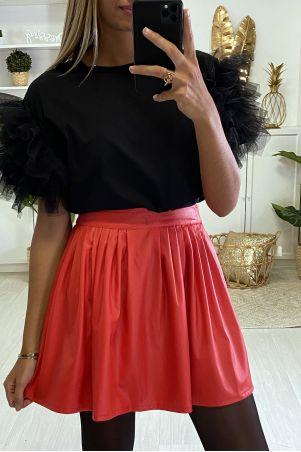jupe simili noir plissée évasée