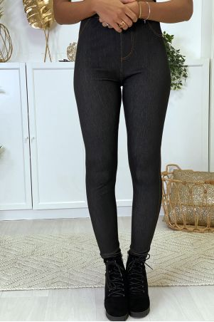 Black raw denim leggings
