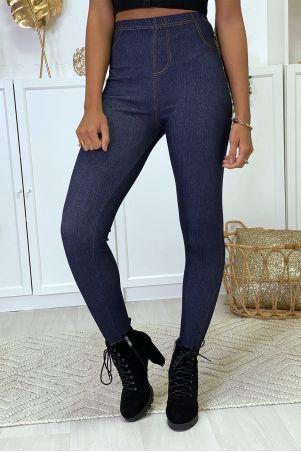 Plus size leggings in blue raw denim style