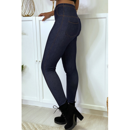 Legging façon jean brute bleu