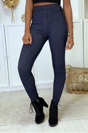 Blue raw denim leggings