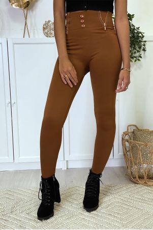 Camelkleurige legging met ritssluiting en fleeceknoop in speciale thermische platte buik met hoge taille
