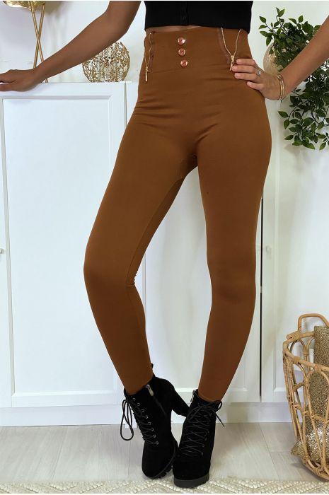 Legging bordeaux avec zip et bouton molletonné à l'intérieure spécial taille haute ventre plat thermal