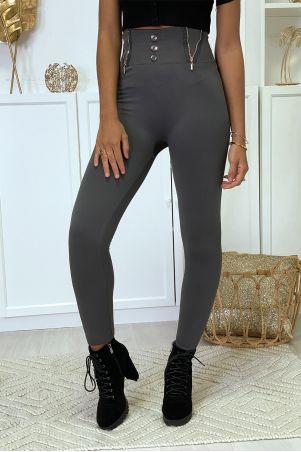 Antracietkleurige legging met rits en fleeceknoop in speciale thermische platte buik met hoge taille