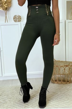 Khaki leggings with zip and fleece button inside special high waist thermal flat stomach