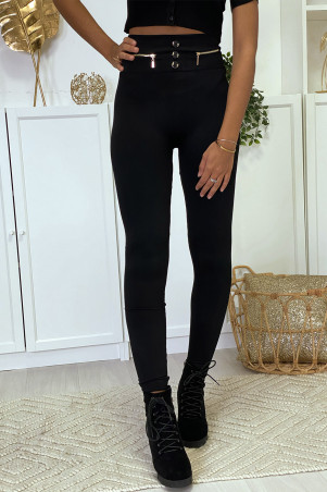 Black leggings with zip and fleece button inside special high waist flat stomach thermal