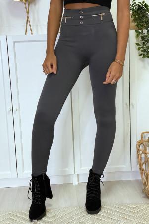 Legging anthracite avec zip et bouton molletonné à l'intérieure spécial taille haute ventre plat thermal