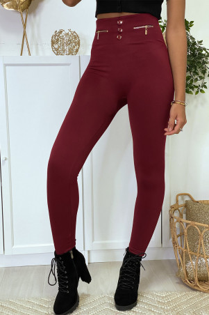 Bordeauxrode legging met rits en fleece knoop in speciale thermische platte buik met hoge taille