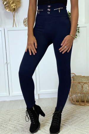 Navy leggings with zip and fleece button inside special high waist thermal flat stomach