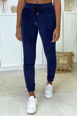 Navy velvet joggers with bands on the sides