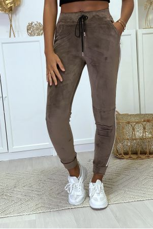 Taupe velvet joggers with side bands