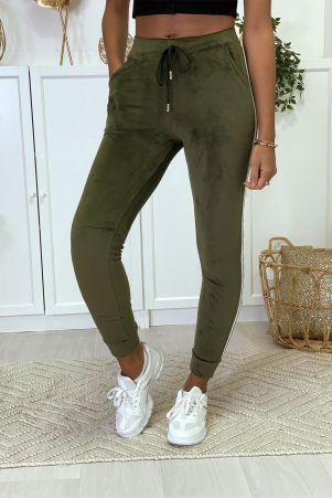 Khaki velor joggers with side bands