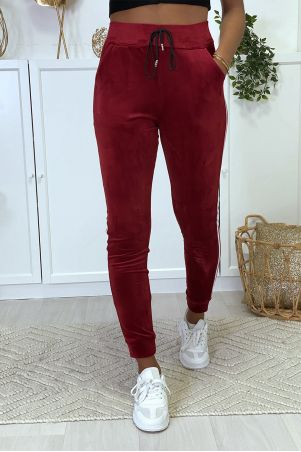 Burgundy velvet joggers with side bands