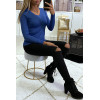 Black round neck sweater in very stretchy and very soft knit