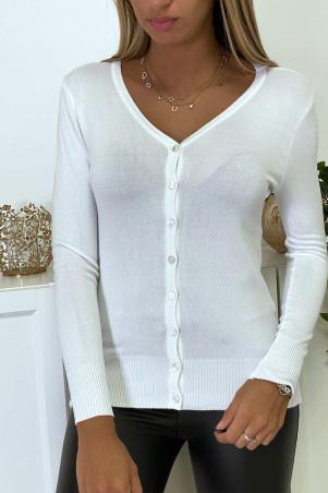 Wit vest in zeer rekbaar en zeer zacht breisel