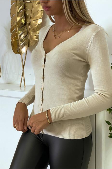 Zeer rekbare en zeer zachte beige trui met V-hals