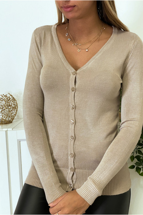 Very stretchy and very soft beige V-neck sweater