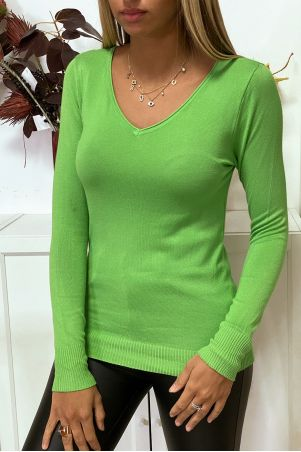 Green V-neck sweater in very stretchy and very soft knit with golden zip on the back