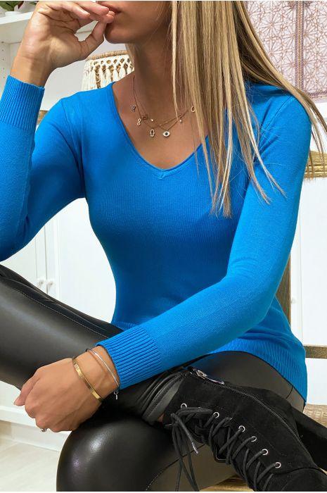 Pull bleu col V en maille tricot très extensible et très doux avec Zip doré au dos