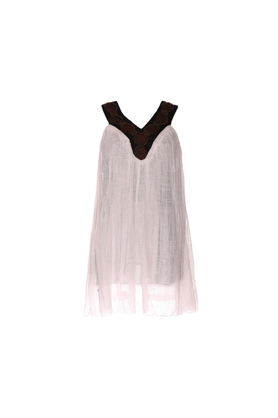 Witte tuniek voor dames met bruine parels bij de kraag. Mode vrouw kleren. 1319