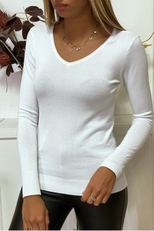 White V-neck sweater in very stretchy and very soft knit with golden zip on the back