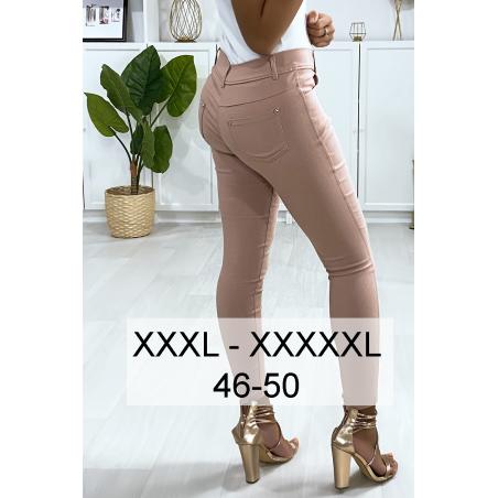 Pantalon slim rose en grande taille , basic avec poches avant et arrière