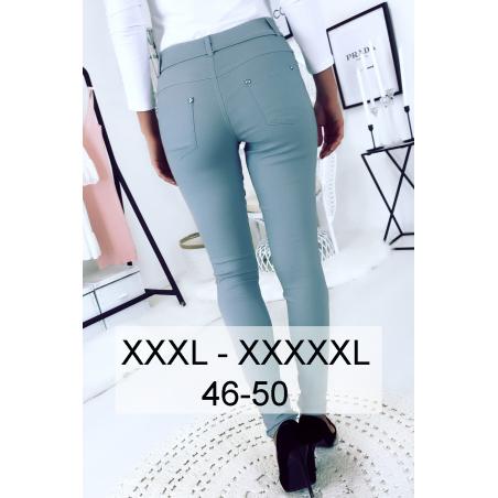 Pantalon slim bleu en grande taille , basic avec poches avant et arrière