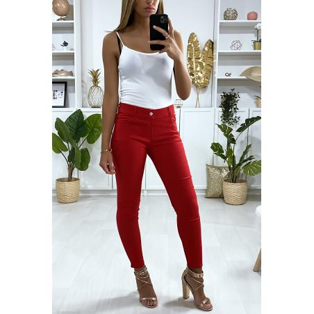 Pantalon slim bordeaux en grande taille , basic avec poches avant et arrière